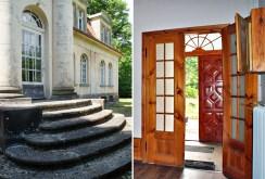 po lewej reprezentacyjne wejście do luksusowego pałacu w Zachodniopomorskiem na sprzedaż