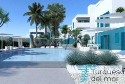 widok na osiedle z basenem przed luksusową willą w Hiszpanii (Costa Blanca, Orihuela Costa) na sprzedaż