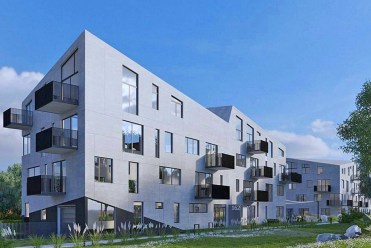 widok na osiedle w Krakowie, na którym znajduje się oferowany do sprzedaży ekskluzywny apartament