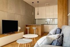 ultra nowoczesny salon w ekskluzywnym apartamencie do wynajęcia w Wieluniu