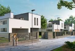 zdjęcie prezentuje prestiżowe osiedle w okolicach Łodzi, na którym znajduje się oferowana na sprzedaż luksusowa willa