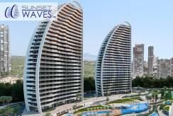widok na dwa apartamentowce, w których znajduje się oferowany na sprzedaż luksusowy apartament