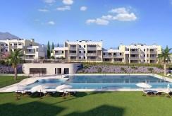 widok na całe osiedle w Hiszpanii (Costa del Sol, Estepona), na którym znajduje się oferowany do sprzedaży ekskluzywny apartament