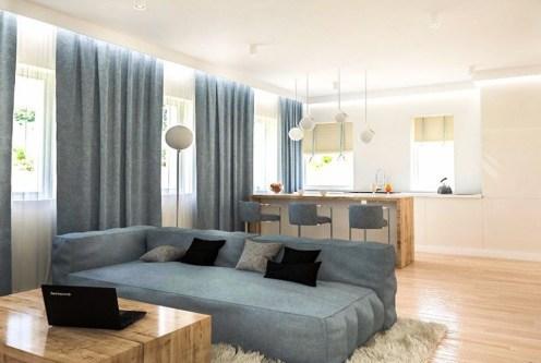 nowoczesne wnętrze salonu w ekskluzywnym apartamencie do sprzedaży Kraków