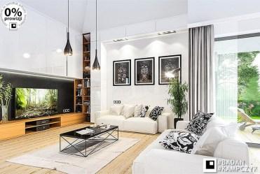 zaprojektowany w nowoczesnym designie salon w ekskluzywnej rezydencji do sprzedaży Katowie (okolice)