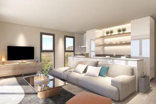 prestiżowe wnętrze salonu w ekskluzywnym apartamencie do sprzedaży Hiszpania (Fuengirola, Costa del Sol)