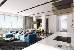 widok na przestronne, eleganckie wnętrze luksusowego apartamentu do wynajmu Szczecin