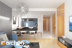 widok od strony salonu na aneks kuchenny w ekskluzywnym apartamencie do sprzedaży Legnica (okolice)