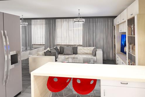 widok od strony jadalni na ekskluzywne wnętrze luksusowego apartamentu do sprzedaży Łódź
