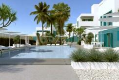 elitarna lokalizacja na terenie osiedla z basenami, gdzie znajduje się oferowany na sprzedaż luksusowy apartament Hiszpania (Costa Blanca, Orihuela Costa, Playa Flamenca)