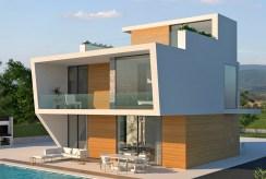 widok od strony basenu na luksusową willę do sprzedaży Hiszpania (Campoamo)