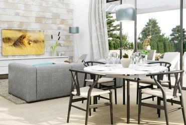 na pierwszym planie jadalnia, w oddali salon w luksusowej willi na sprzedaż Hiszpania (Montesino)