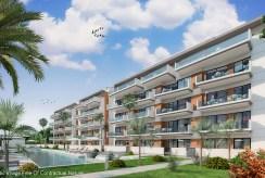 widok od strony baseny na ekskluzywny apartamentowiec, w którym znajduje się oferowany na sprzedaż luksusowy apartament Hiszpania (Guardamar De Segur)