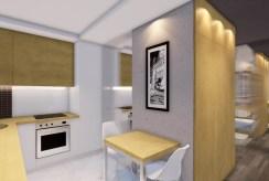 widok na aneks kuchenny w ekskluzywnym apartamencie do sprzedaży Kalisz
