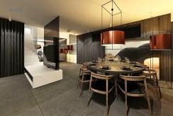 zaprojektowany w nowoczesnym stylu salon w luksusowej willi na sprzedaż Częstochowa