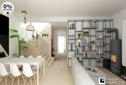 salon zaprojektowane w nowoczesnym stylu w luksusowej willi na sprzedaż Katowice
