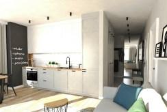 po lewej kuchnia, po prawej hol w luksusowym apartamencie na sprzedaż Ostrów Wielkopolski