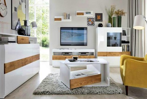 zaprojektowany w nowoczesnym designie salon w luksusowym apartamencie na sprzedaż Grudziądz