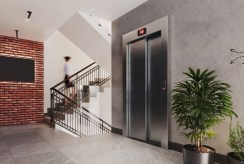 designerska klatka schodowa w budynku, gdzie znajduje się oferowany do sprzedaży ekskluzywny apartament Legnica