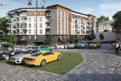 zdjęcie/wizualizację wykonano od strony parkingu na apartamentowiec, gdzie mieści się oferowany na sprzedaż luksusowy apartament Legnica