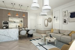 widok z innej perspektywy na pokój dzienny w ekskluzywnym apartamencie do sprzedaży Kalisz
