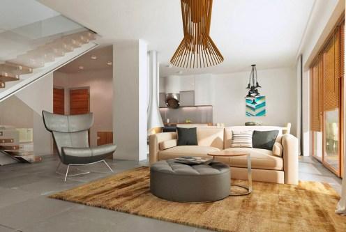 designerski pokój dzienny w luksusowej willi na sprzedaż Kalisz