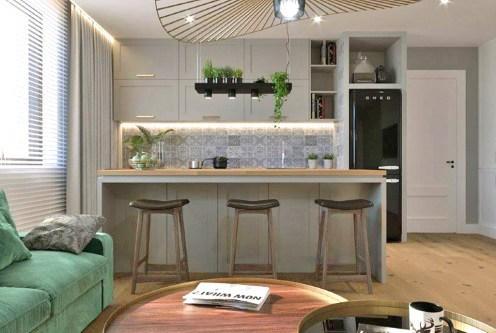 widok z salonu na aneks kuchenny w ekskluzywnym apartamencie do wynajęcia Częstochowa