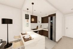 funkcjonalnie wyposażona i umeblowana kuchnia z jadalnią w luksusowym apartamencie do sprzedaży Hiszpania (Manilva, Malaga)