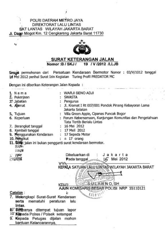15 Contoh Surat Jalan Kepolisisan Pengiriman Barang Desa Dan Dinas