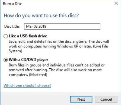 burning cd di windows 10
