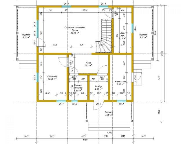 Двухэтажный дом площадью 166 м2 по проекту Омега план 1 этажа