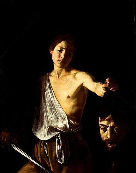 """""""David con la cabeza de Goliat"""", pintado por Caravaggio"""