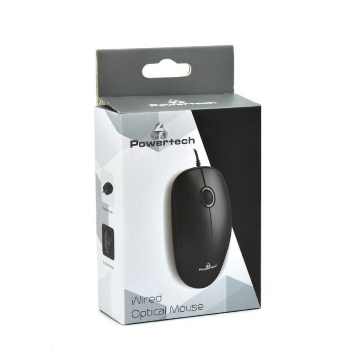 POWERTECH Ενσύρματο ποντίκι, Οπτικό, 1000DPI, USB, μαύρο   Συνοδευτικά PC   elabstore.gr