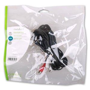 NEDIS CAGP24205BK50 Stereo Audio Cable, 2x RCA Male - 2x RCA Female, 5m, Black   ΚΑΛΩΔΙΑ / ADAPTORS   elabstore.gr