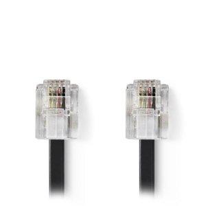 NEDIS TCGP90200BK100 Telecom Cable RJ11 Male - RJ11 Male 10.0 m Black | ΚΑΛΩΔΙΑ / ADAPTORS | elabstore.gr