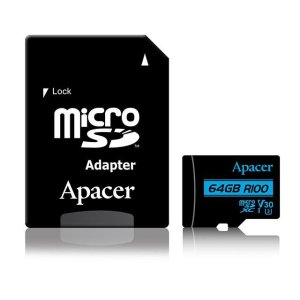 Memory Card Micro SDXC UHS-I U3 Class10 64GB Apacer V30 R100 | MEMORY CARDS | elabstore.gr