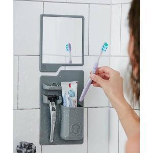 Σετ καθρέπτης και θήκη οδοντόβουρτσας από σιλικόνη TMV-0001, γκρι   Οικιακές & Προσωπικές Συσκευές   elabstore.gr