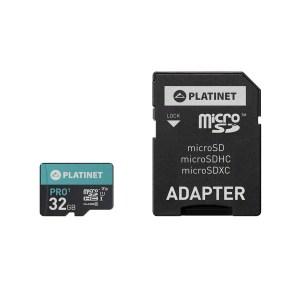 PLATINET microSDHC  SECURE DIGITAL + ADAPTER SD 32GB class10 U1 70MB/s | ELABSTORE.GR