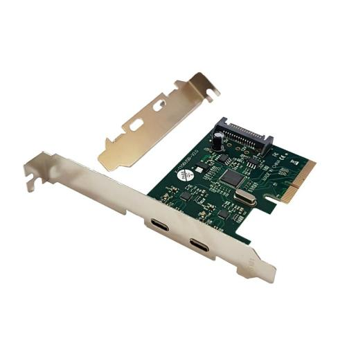 POWERTECH Κάρτα Επέκτασης PCI-e σε 2x USB 3.1 Type-C, Chipset ASM1142   PC & Αναβάθμιση   elabstore.gr
