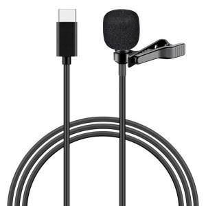 POWERTECH μικρόφωνο CAB-UC048 με ενσωματωμένο clip-on, USB Type-C, μαύρο   Συνοδευτικά PC   elabstore.gr