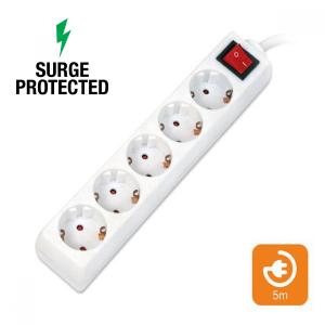 OMEGA Πολύπριζα Προστασίας 5θ με Διακόπτη 5M Λευκό OL5G5W   Ηλεκτρολογικά   elabstore.gr