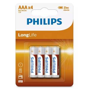 PHILIPS LongLife Zinq chloride μπαταρίες R03L4B/10 AAA R03 Micro, 4τμχ | Μπαταρίες | elabstore.gr