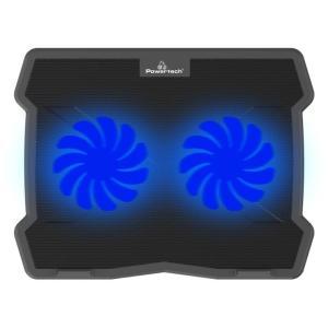"POWERTECH Βάση & ψύξη laptop PT-930, έως 15.6"", 2x 125mm fan, LED, μαύρο | Αξεσουάρ για Laptop | elabstore.gr"