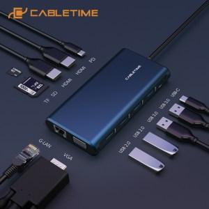 CABLETIME USB Type-C hub 12 σε 1 C160, 1000Mbps, 4K, 100W, μπλε   Συνοδευτικά PC   elabstore.gr