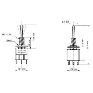 GOOBAY διακόπτης 10023, 6-pin, ON-OFF-ON, 3A 250V, 5τμχ | Εργαλεία | elabstore.gr