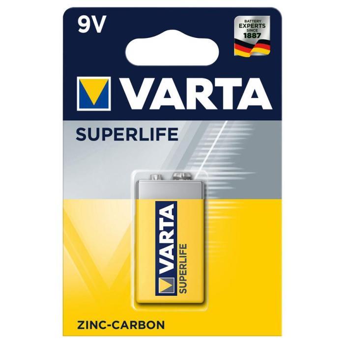 VARTA Superlife Zinc Carbon μπαταρία 42338, 6F22 9V, 1τμχ   Μπαταρίες   elabstore.gr