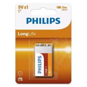 PHILIPS LongLife Zinq chloride μπαταρία 6F22L1B/10, 6F22 9V, 1τμχ | Μπαταρίες | elabstore.gr