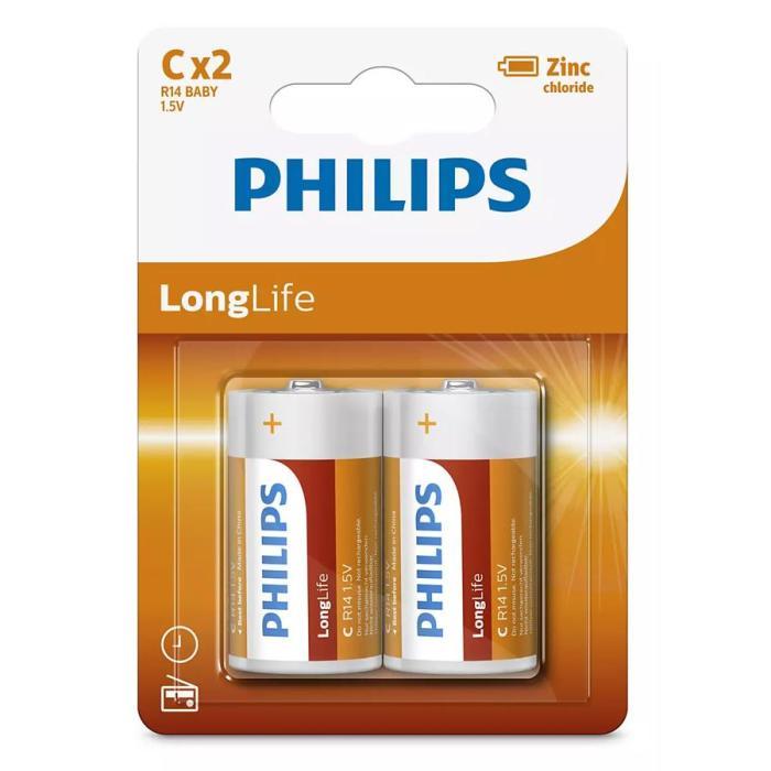 PHILIPS LongLife Zinq chloride μπαταρίες R14L2B/10, R14 1.5V, 2τμχ | Μπαταρίες | elabstore.gr