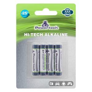 POWERTECH Hi-Tech Αλκαλικές μπαταρίες PT-944, AAA LR03 1.5V, 4τμχ   Μπαταρίες   elabstore.gr
