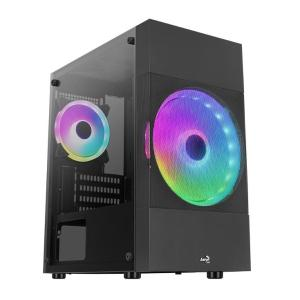 AEROCOOL PC case mini tower ATOMIC-LITE-G, 206.5x385x353.4mm, 2x RGB fan | PC & Αναβάθμιση | elabstore.gr